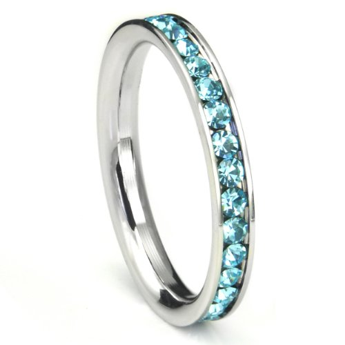 316L Stainless Steel Aquamarine Light Blue Cubic