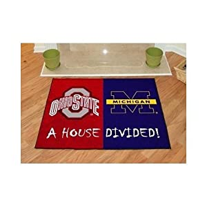 House Divided Floor Mat w Official Team Logos - Ohio State & Michigan by Fanmats