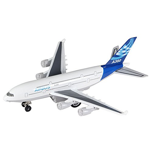 Moleya Kids Toys 20CM Airbus Emirates A380 Airplane Pull Back Electric Plane Model with Lights and Sounds (Blue) (Jetblue Model Plane compare prices)