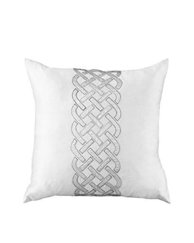 Bandhini Homewear Design Celtic Knot Throw Pillow, White/Silver