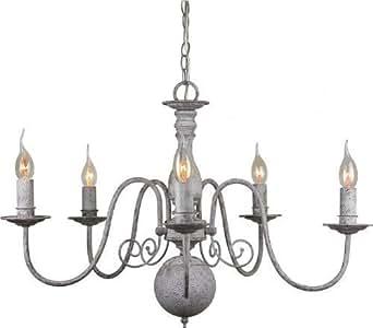 edler kronleuchter 39 christina 39 in antik grau 5 flammig. Black Bedroom Furniture Sets. Home Design Ideas