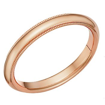 2.5 Millimeters Rose Gold Heavy Wedding Band Ring 14Kt Gold with Beaded Edge, Comfort Fit Style MIR025 , Finger Size 9¾