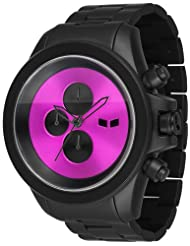 Vestal Men's ZR3013 ZR-3 Minimalist Matte Black and Purple Chronograph Watch