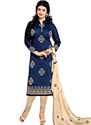 Present Blue Chanderi Cotton Dress Material