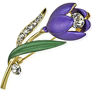 Simple Elegant Stem Flower Crystal Brooch Pin - Purple