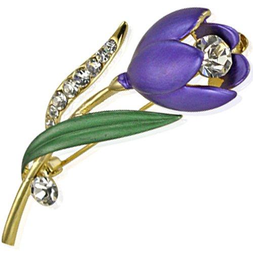 Simple Elegant Stem Flower Crystal Brooch Pin