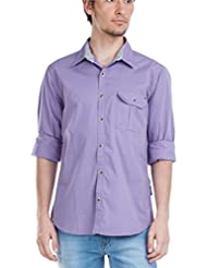 Zovi Men's Cotton Regular Fit Casual Cotton Lilac Solid Shirt With Patch Pocket - Full Sleeves (10516204001)