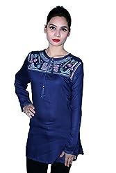 Cherry Clothing Women's Top (CRT1023 M_Navy Blue_Medium)