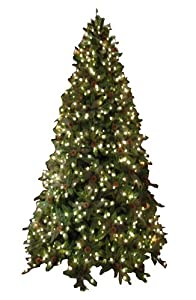 #!Cheap GKI/Bethlehem Lighting 7-1/2-Foot PE/PVC Christmas Tree with Clear Mini Lights, Full Green River Spruce