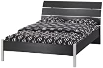 Hot Sale Tvilum San Francisco Full Bed, Black and Woodgrain