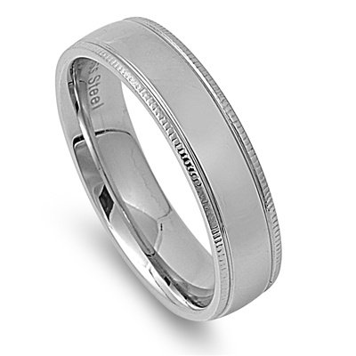 6MM HIGH Polished Ribbed Edge Stainless Steel Unisex Men Wedding Band Ring 6-14 (8)