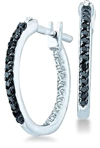 14k White Gold Two Double Sided Back and Front Round Black and White Diamond Hoop Huggie Earrings - 15mm Height * 2mm Width (1/4 cttw)