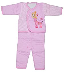 Kuchipoo Winter Wear Baby Dress (Pink Color, upto 1 year)