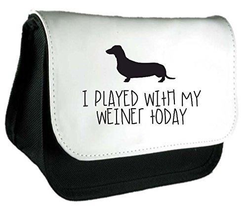 Oggi ho svolto con mio Weiner Cane parodia divertente animali a tema Frizione Borsa o Astuccio Misura unica nero