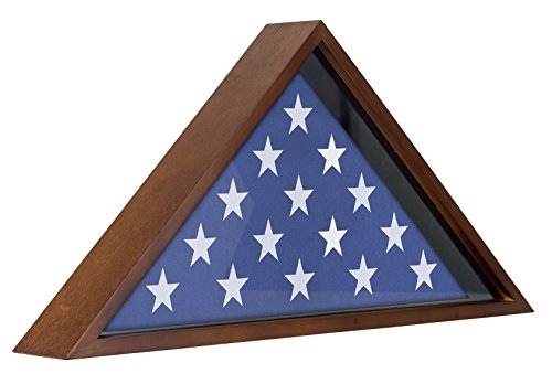 Flag Case Frame - Display Case for 5x9.5' Flag with Mahogany Finish - Memorial Veteran Flag Display Case (Flag Display Case Army compare prices)