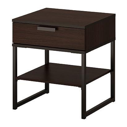 Ikea Trysil Table De Chevet Brun Foncé Noir 45x40 Cm