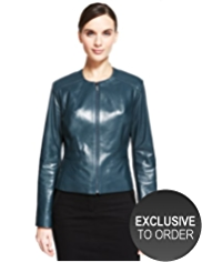 Autograph Leather Panelled Zip Through Jacket