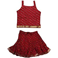 Jaipur Kala Kendra Baby Girls Casual Skirt Top Party Dress Lehanga Choli Summer Kids Gift Skirts Tops Blouse Maroon 6-12 Months