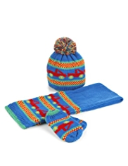 Truck Design Knitted Hat, Scarf & Mittens Set