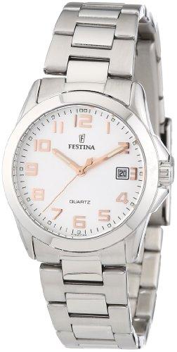 Festina F16377/3 - Reloj analógico para mujer de acero inoxidable Resistente al agua plata