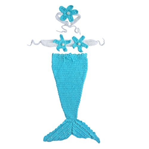 Baby Girls Wool Yarn Pearls Blue Ocean Mermaid Crochet Knit Photo Prop SZ 0-12 Months