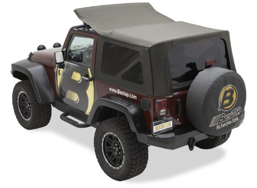 Bestop 79143-36 Khaki Diamond Sailcloth Replace-A-Top Soft Top With Tinted Windows; No Door Skins Included For 2010 Wrangler Jk Unlimited (Cable Top Design)