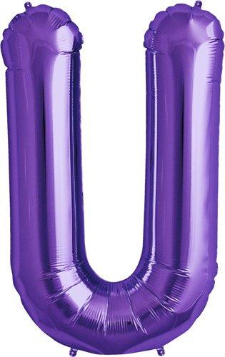 Letter U - Purple Helium Foil Balloon - 34 inch