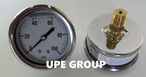 """New Stainless Steel Liquid Filled Pressure Gauge Wog Water Oil Gas 0 To 100 Psi Back Mount 0-100 Psi 1/4"""" Npt 2.5"""" Face / Dial For Compressor Hydraulic Air Tank Pneumatic"""