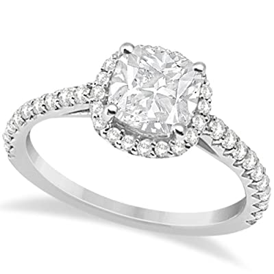 Allurez Diamond Halo Cushion Cut Moissanite Engagement Ring 18K W. Gold 0.88ct