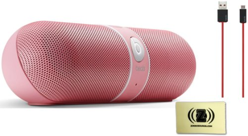 Beats By Dr. Dre Pill 2.0 Portable Speaker System (Nicki Pink) Bundle With Beats By Dr. Dre Usb Cable (Red) And Custom Design Zorro Sounds Cleaning Cloth