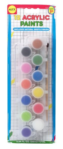 ALEX Toys Artist Studio 12 Mini Acrylic Paints with Brush