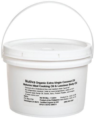 Nutiva Organic Extra Virgin Coconut Oil (8-Pound), 1-Gallon Tub