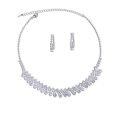 Topwholesalejewel Bridal Jewelry Set Silver Crystal Necklace Earrings Set For Wedding