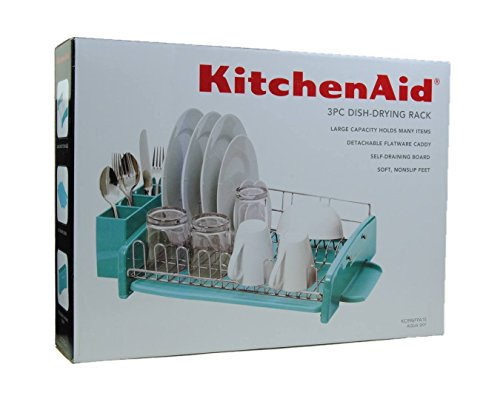 Beau KitchenAid 3PC Dish Drying Rack Large Capacity Aqua Sky