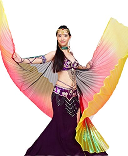 Dreamspell party colorful belly dance isis big wings(Black,Red,Yellow mixed).