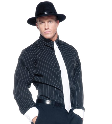 [Men's Mobster Costume - Striped Shirt] (Mafia Themed Costume)