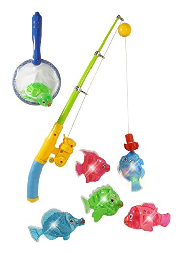 Magnetic Light Up Fishing Bath Toy Set for Kids - Rod & Reel with Turtle and 5 Unique Fish (Magnetic Fishing Fun compare prices)