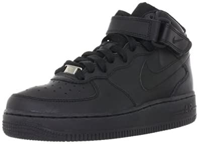 Nike Air Force 1 Mid (Kids) - Black / Black, 3.5 M US