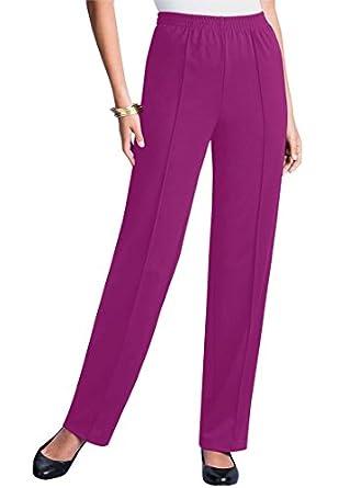 Roamans Women's Plus Size Petite Crease Front Pant (Berry Pink,12 Wp)