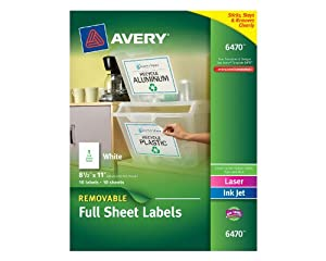 Avery White Removable Multipurpose Labels, 8.5 x 11 Inches, White, Pack of 10 (06470)