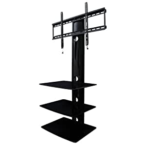 Swiveling TV Wall Mount with Three Shelves