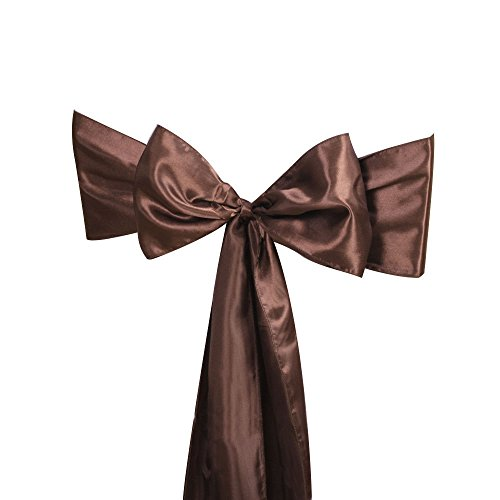 Bigbig_top 10 pieces 6 x 108 Inch Satin Chair Tie Sashes Bow Wedding Party Decoration - Chocolate Brown (Chocolate Brown Chair compare prices)