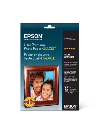 Epson Ultra Premium Photo Paper GLOSSY (5×7 Inches, 20 Sheets) (S041945)