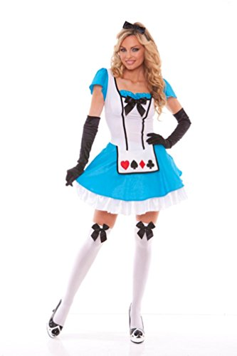 Sexy Tea Party Temptress Costume Alice Lace up Bow Fancy Dress Women Large 10-14
