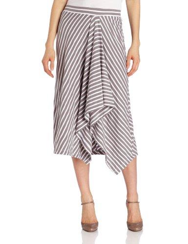 Mod-O-Doc Women's Slub Jersey Assymetrical Hi-Low Skirt, Smokey, Medium