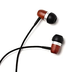 Symphonized GLXY Premium Genuine Wood In-ear Noise-isolating Headphones with Mic and Nylon Cable (Cherry)
