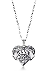 Inspired Silver Nana Pave Heart Charm Necklace Clear Cystal Rhinestones