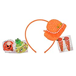 Sanjog Girls' Plastic Hair Band And Hair Clip (Combo Of 4) - Orange