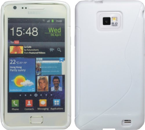 White S-Line Tpu Case For Samsung Galaxy S Ii S 2 I9100 Crystal S2
