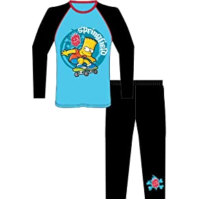 Childrens/Kids Bart Simpson Long Sleeve Top & Bottoms/Trouser Pyjamas Set